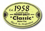 Distressed Aged Established 1958 Aged To Perfection Oval Design For Classic Car External Vinyl Car Sticker 120x80mm
